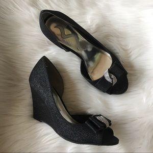 NEW NINA black sparkle wedge party dress shoes 6.5
